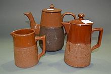 Three antique brown jugs, approx 20cm H and
