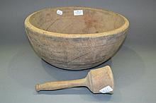 Antique French turned wood bowl with a pestle,