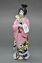 Enamelled porcelain figure of Japanese lady,