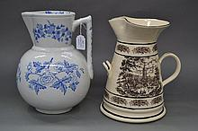Blue and white jug along with another jug, approx