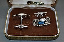 Pair of Sterling Silver and Opal cufflinks