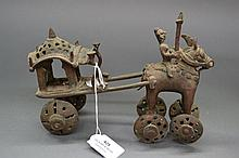 Indian bronze horse and cart