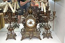 Antique French Bronze mantle clock and garnitures