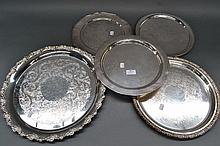 Five Silver plate trays (5)