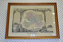 Antique French Dept De Marne hand coloured map, 30