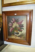 Antique French school, still life vase of flowers,