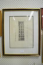 Antique French Architectural steel engraving 19th