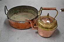 Antique French copper preserving pan and an Arabic