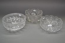 Three cut crystal fruit bowls, approx 20cm Dia (3)