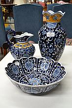 Matching decorative blue bowl, vase & jug