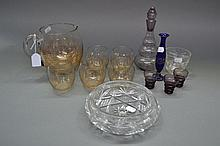 Assortment of glassware to include jugs, glasses,