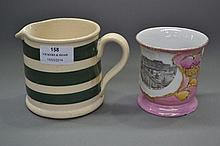 Antique shaving mug & a Bakewell's Cornish jug (2)