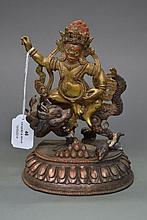 Gilt bronze deity, approx 21cm H