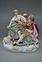 Continental porcelain figure group of young