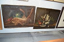 Two antique French school, still lifes with