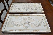 Two French plaster plaques, cast in relief approx