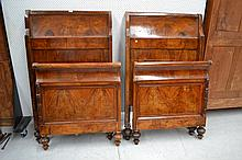 Pair of Antique European walnut sleigh beds (2)