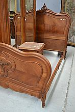 Antique French walnut Louis XV style double bed