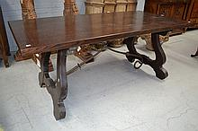 Vintage Spanish oak trestle table, fitted with a