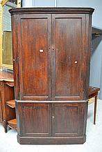 Antique English Georgian Oak corner cupboard,