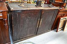 Antique stained pine two door cabinet, original