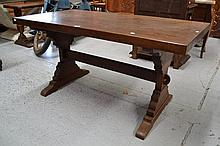 Vintage French solid oak trestle table, approx