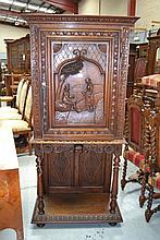 Antique French Brittany carved oak cabinet on
