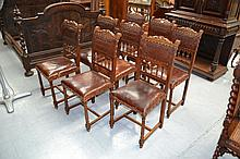 Set of eight French Henri II walnut chairs, with