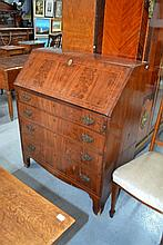 Antique George III inlaid mahogany bureau chest,