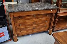 Antique French Empire walnut commode with marble