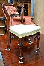 Antique rosewood Balloon back upholstered chair