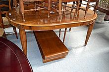French three leaf extension dining table, standing