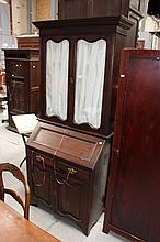Antique pine bureau bookcase, glazed two door top,