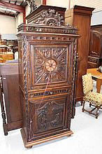 Antique French Brittany carved oak single door