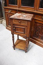 Antique French Henri II marble topped nightstand