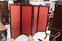 1930s French four fold dressing screen with silk