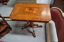 Fine antique inlaid walnut occasional table,
