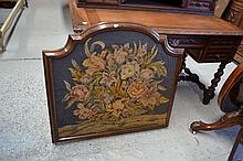 Vintage fire screen, with woolwork floral panel