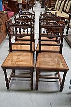Six antique French Henri II chairs with caned