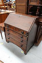 Antique early 19th century inlaid mahogany bureau
