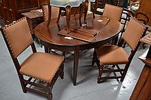 Four circa 1900s dining chairs with suede
