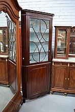 Georgian style Mahogany two piece corner cabinet