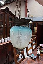 Antique French etched coloured glass light pendant
