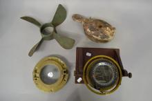 Antique pulley, brass port hole, propeller and vintage pimple compass