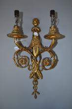 Antique two light wall sconce cherub with pan pipes, approx 41cm H