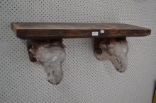 A 19th century French figural carved butcher's shop trade sign/shelves, two original painted rams heads, approx 30cm H x 84cm W x 29cm D