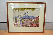 Benjamin Landara (1921-85) Australia (Aboriginal) Morning Mt Sonder, watercolour, signed lower right, approx 25 x 35 cm