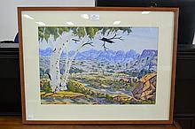 Benjamin Landara (1921-85) Australian (Aboriginal) Glen Helen Valley, watercolour, signed lower right, approx 35 x 51.5 cm