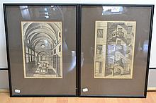 Two rare 15th century Perspectiva engravings by Hans Vredeman de Vries, printed by Hendrik Hondius, Leiden, one dated 1604, plate numbers 29 & 35. Approx 29.5 x 19.5cm