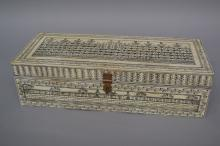 Indian bone decorated box, approx 10cm H x 38cm W x 16cm D